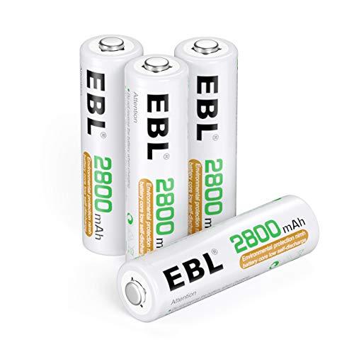 EBL 単3形充電池 4個パック 2800mAh ニッケル水素電池 充電式電池 単三電池