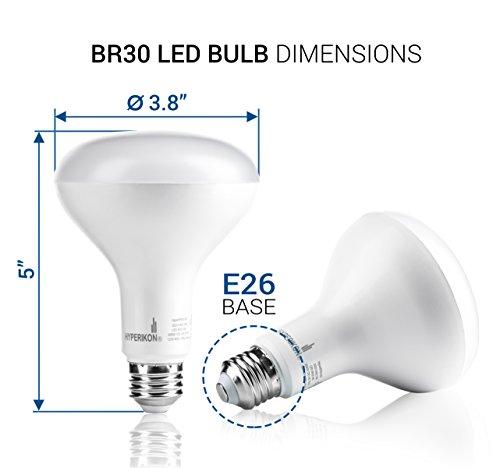 Hyperikon BR30 LED Bulb Dimmable 12W=75W, Wide Flood Light E26 Base, UL, Energy Star, Daylight White, 6 Pack