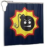 GSEGSEG Gseg Wasserdichter Polyester-Duschvorhang Serious Sam Bomb Logo Print dekorativer Badezimmer-Vorhang mit Haken, 183 x 183 cm