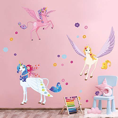 ufengke Pegatinas de Pared Unicornio Hada Vinilos Adhesivas Pared Flor DIY para Dormitorio Habitación Infantiles Niñas Sala de Estar