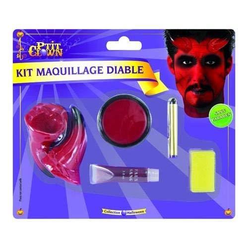 P 'tit payaso–12900–Kit maquillaje Diablo–cuernos + paleta + Sangre + lápiz negro...