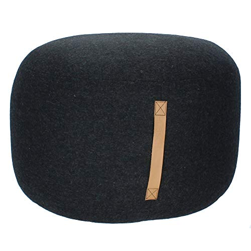 HÜBSCH Pouf Rund aus Wolle mit Ledergriff Schwarz Ø 50 cm 700503