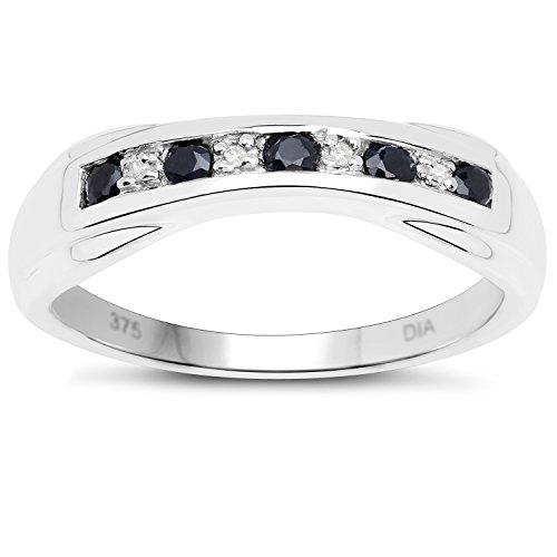De Diamond Ring Collectie: 9Ct Wit Goud Saffier en Diamant 6 mm Kanaalset, Verlovingsring, Eeuwigheidsring, Moederdag, Jubileum, Cadeau, Ringgrootte 9,10,11,12,13,15,16,17,19,24,20,15,6,21,22