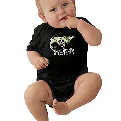 Body de manga corta para bebé con diseño de calavera, color verde, cannabis y hojas de malezas, abstractas y pictóricas para bebés