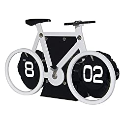 KABB Flip Clock, Retro Style Bicycle Shaped Flip Down Clock, Classical Mechanical Desk Clock, Digital Display with Battery Powered for Home & Office Décor (White)