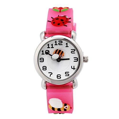 Eleoption Relojes de pulsera resistentes al agua digitales de silicona en 3D con dibujos animados, regalo de profesor para niños y niñas - HEA5SY7, Harmonious Natural- Pink