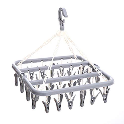 Qirun Secadora de Ropa Plegable a Prueba de Viento de 32 Clavijas, tendedero, tendedero, Calcetines de Ropa
