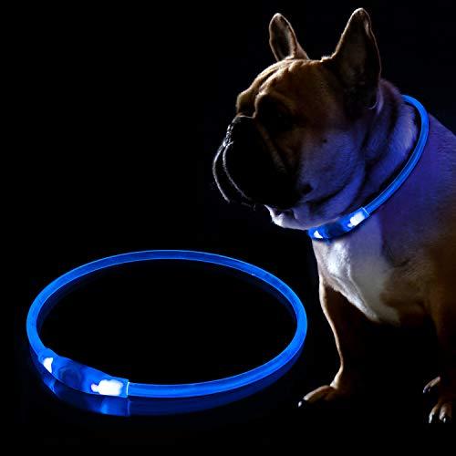 KABB LED Hundehalsband, USB Wiederaufladbares Blinkhalsband für die Sicherheit bei Nacht, Verstellbares, Wasserdichtes, Hell Beleuchtetes Halsband für Hunde - Eine Grösse passt Allen, Blau