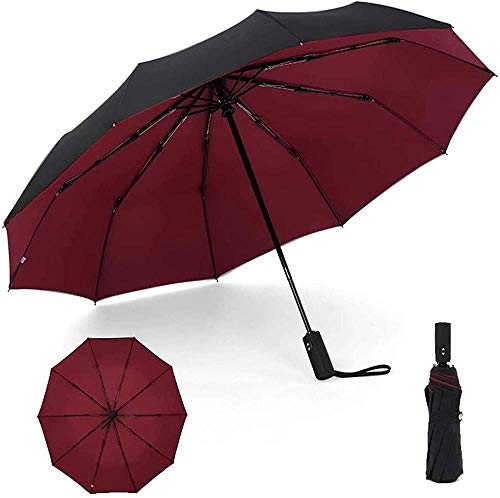 Paraguas compacto resistente al viento con apertura automática y cierre automático con diseño de doble capa, protección UV grande para mujeres y hombres (color: D) - -