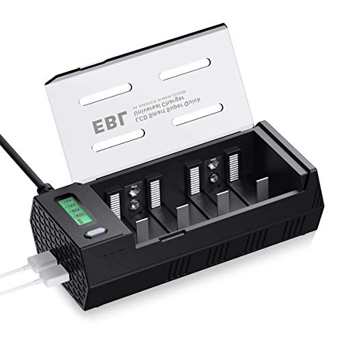 EBL 908 Cargador de Pilas para AA AAA C D 9V Ni-MH Pilas Recargables con 2 Puertos de USB, Pantalla LCD Inteligente y Función de Descarga