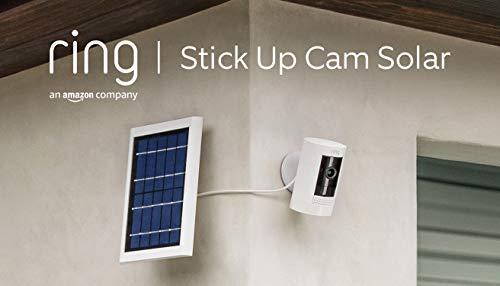 Ring Stick Up Cam Solar, cámara de seguridad HD con sistema de comunicación bidireccional, compatible con Alexa   Incluye una prueba de 30 días gratis del plan Ring Protect   Color blanco