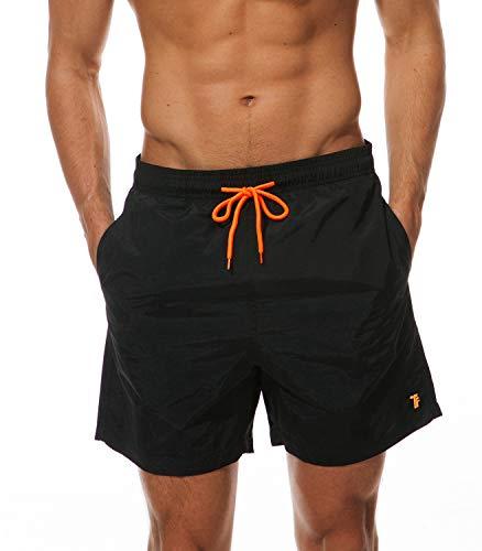 TBMPOY Men's Swim Trunks Quick Dry Beach Shorts with Pockets(Black,US XS)