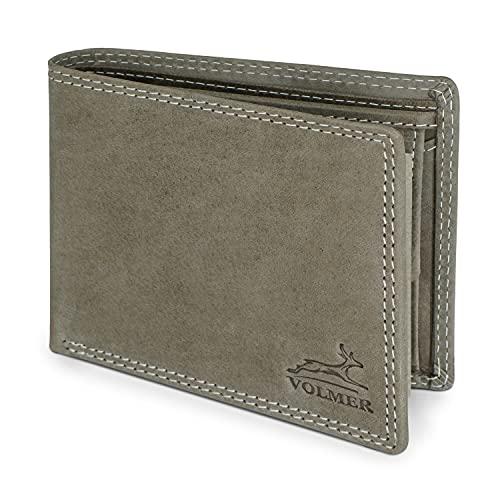 Fa.Volmer Echtleder Geldbörse - Wasserbüffelleder - Grau - Portemonnaie Herren - RFID-Schutz - Triffold - Ledergeldbörse mit Münzfach - 4 Varianten