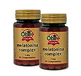 Obire | Melatonina 1 mg | COMPLEX 60 Comprimidos con pasiflora, amapola californiana, melisa, tila y valeriana (Pack 2 unid.)