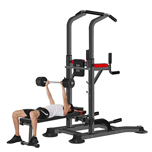 Hstore Power Tower, Workout Dip Station with Exercise Bench, Pull Up Bar Dip Station, Exercise Tower Dip Stand Adjustable Height Strength Training with Dumbbell Stool Fitness Equipment