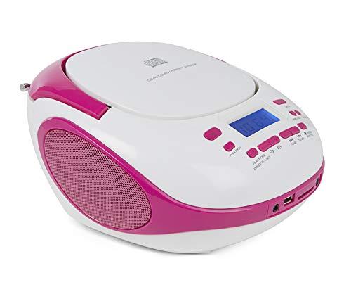 Nikkei NPRC56PK - Radio portatile e lettore CD con porta USB e Bluetooth, colore: Bianco/Rosa