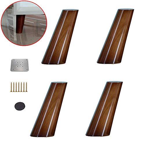 ZXL tafelpoten van massief hout, voeten voor meubels, modern, voor bank, rek, stoel, met schroeven, kegel, walnoot, 4 stuks