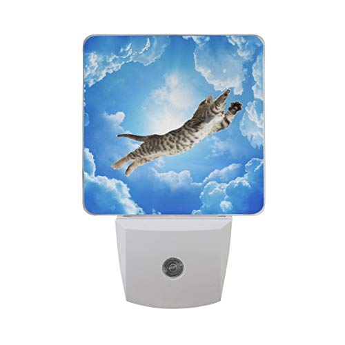 AOTISO Goddelijke Cat Fly On Blue Sky met Bright Sunshine Auto Sensor Night Light Plug in Indoor