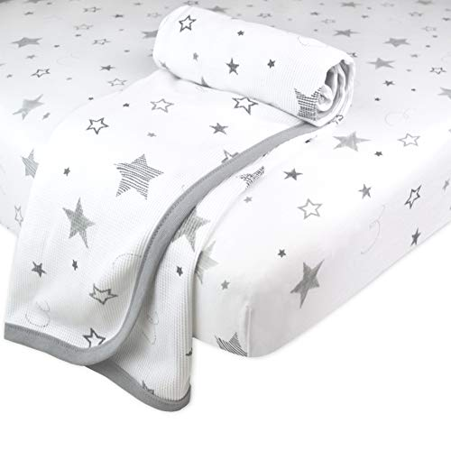 American Baby Company New Baby Welcome Kit with Thermal Cotton Swaddle Blanket & Fitted Mini-Crib Sheet, Super Stars, for Boys and Girls