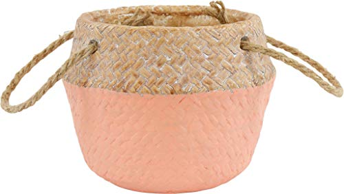 Hoff 9920 Ethno Style - Maceta para plantas con asa, diámetro de 13,5 cm, color naranja pastel, pequeña, arcilla, aspecto de cesta, ideal para plantar, maceta de arcilla