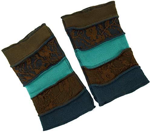 Guru-Shop, Elf Handwarmers, Boho Polswarmers - Bruin/benzine, Size:One Size, Handboeien