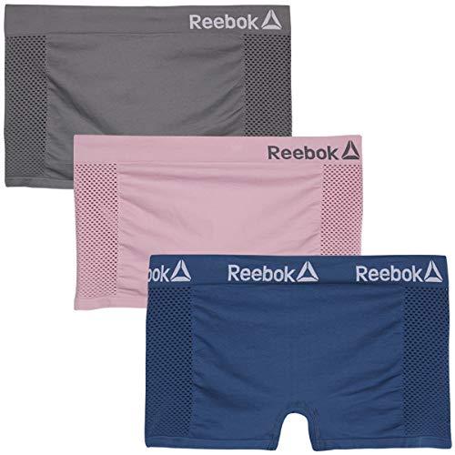 Reebok Women Plus Size Seamless Boyshort Panties Underwear (3 Pack), Grey/Blue/Pink, Size 3X'