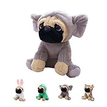 Cute Pug Stuffed Animal Cosplay as Gray Elephant Plush Toys Soft Pug Dog Toy in Elephant Costume Great Plushies Toys Stuffed Animals for Kids ,10 Inch