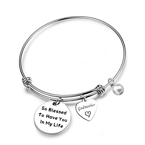 LQRI Godmother Gifts Godmother Bracelet So Blessed to Have You in My Life Expandable Wire Bangle Religious Jewelry Baptism Gift(so Blessed.)