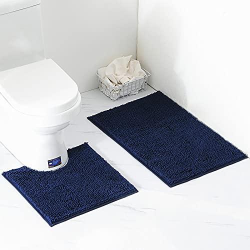 Arkmiido Alfombra de baño de Lujo/Alfombra de baño Antideslizante Alfombra de baño de Dos Piezas Impermeable/Suave para Ancianos y niños 50 * 80 (Azul Oscuro)