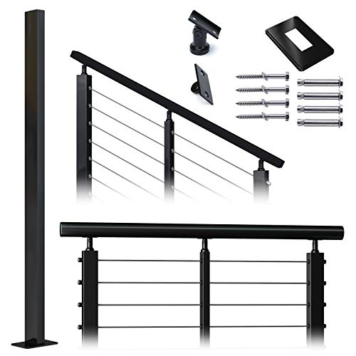 """Muzata Cable Railing Post Intermediate 36""""x1""""x2"""" Stainless Steel Black Finishing Un-drilled Post Surface Mount for Wood Concrete Level Angle Deck Stair Balustrade fit Invisible kit PS11 BN4S, PT1 PT2"""