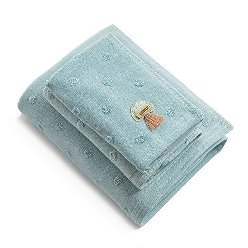 Xiaobing Toallas de baño de algodón de 3 Piezas, Toallas absorbentes de baño Suaves y cómodas para Hombres y Mujeres - Toalla Azul-3 Piezas