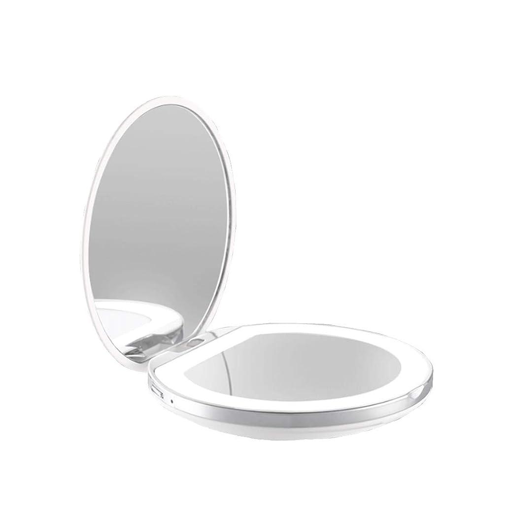 摂動階インスタント手鏡 両面鏡 ライト付きミラー 女優ミラー 3倍拡大鏡付き お姫様 ミラー おしゃれ 卓上 LEDライト 化粧鏡 コンパクト 折り畳み式 スタンドミラー 角度調整