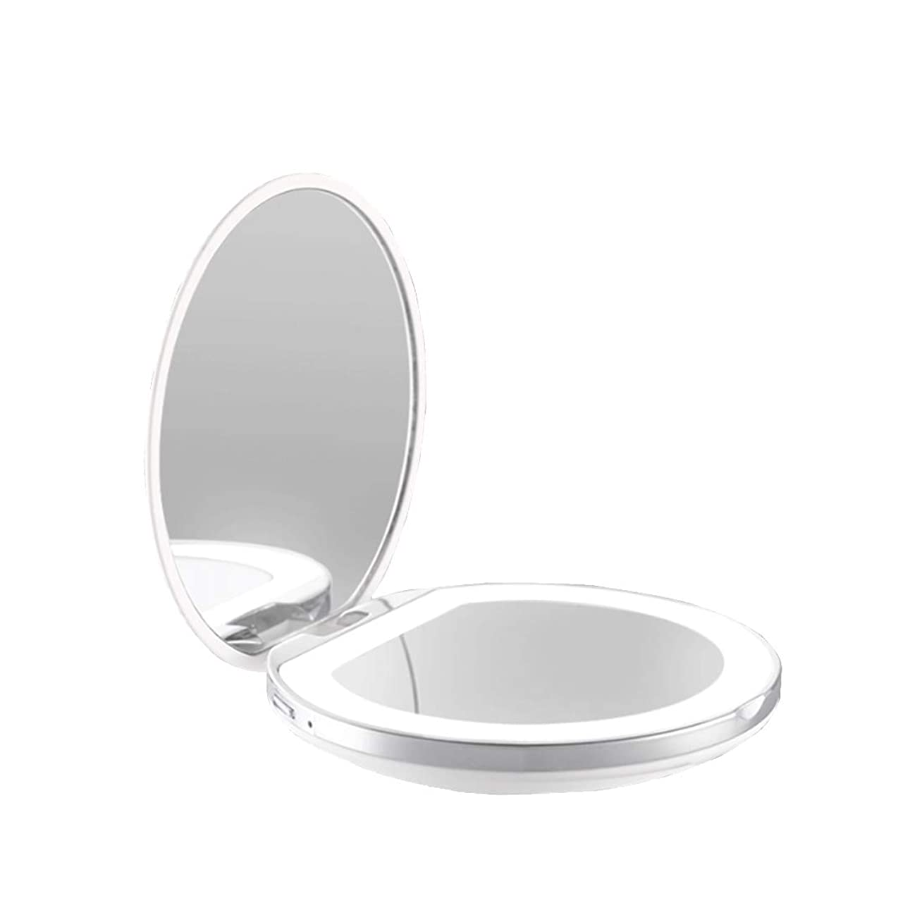 キャンパスピザ反映する手鏡 両面鏡 ライト付きミラー 女優ミラー 3倍拡大鏡付き お姫様 ミラー おしゃれ 卓上 LEDライト 化粧鏡 コンパクト 折り畳み式 スタンドミラー 角度調整
