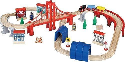 Maxim Enterprise Inc Wooden Train Set, 60-Piece by Wooden Tracks - Toys