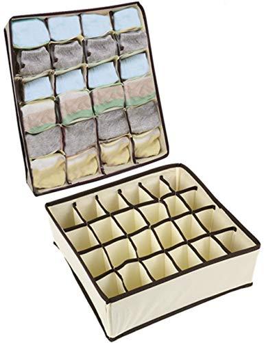 Nifogo Aufbewahrungsboxen für Unterwäsche und Zubehörteile,Faltbare Schubladenunterteilungen,Schrank Organizer,zum Aufbewahren von Socken,Schals,Büstenhalter,2 Stück 24 Zellen (Beige)