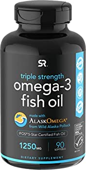 Omega-3 Fish Oil from Wild Alaska Pollock  1250mg per Capsule  with Triglyceride EPA & DHA | Heart Brain & Joint Support | IFOS 5 Star Certified Non-GMO & Gluten Free  90 Softgels