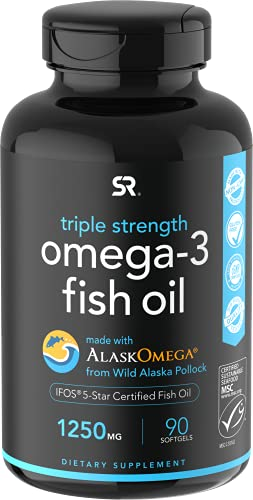 Omega 3 Fish Oil from Wild Alaska Pollock (1250mg per Capsule) with Triglyceride EPA & DHA | Heart, Brain & Joint Support | IFOS 5 Star Certified, Non-GMO & Gluten Free (90 Softgels)