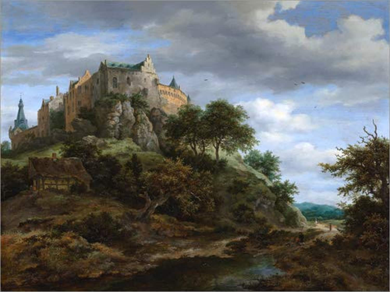 Posterlounge Leinwandbild 120 x 90 cm  Die Burg Bentheim von Jacob Isaacksz Van Ruisdael - fertiges Wandbild, Bild auf Keilrahmen, Fertigbild auf echter Leinwand, Leinwanddruck