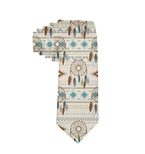 Jesse Tobias Corbata Elegante Azteca Tribal Atrapasueños Neutrales Marrones Patrón verde azulado Corbatas para hombres Niños Negocio formal Fiesta de bodas Traje Corbata