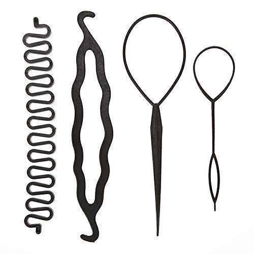 LWBTOSEE Juego de 4 pinzas de pelo trenzado mágico para sujetar el cabello, trenzas, agujas de tirar, coleta y herramientas de bricolaje