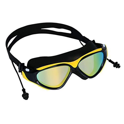 Demino BOIHON Erwachsener Schwimmen Surfen Earplug Anti-Fog Galvani Brillen Frauen Männer Anti-Fog Galvani Brille UV-Schutz Schwimmbrille Gelb Schwarz