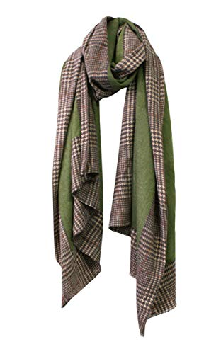 EXCHIC Damen Spleißen Plaid Schal Kaschmirschal Wraps Herbst Winter Warm Scarf (Armeegrün)