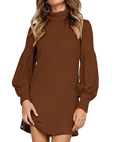 Auxo Vestido a Punto Cuello Alto Suéter Larga Elegante Clásico para Mujer Jerséy para Otoño Invierno B-Marrón S