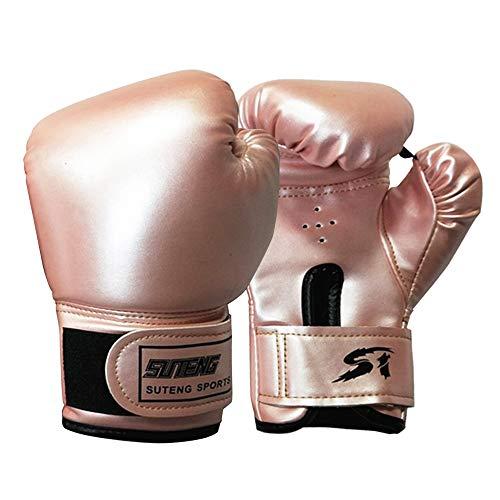 ConBlom - Guantes de boxeo para niños para Muay Thai y entrenamiento de competición, boxing Gloves de piel para sparring, Kickboxing, bolsas de Frappe, fitness, práctica (rosa)