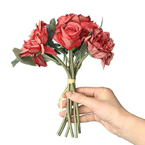 WanBeauty 1 Bouquet di Fiori Artificiali Realistici Fai da Te Mobili per Feste da Giardino Decor Decorazioni per La Casa per Interni, Pianta da Esterno, Matrimonio, Centrotavola, Mazzi Profondo Rosso
