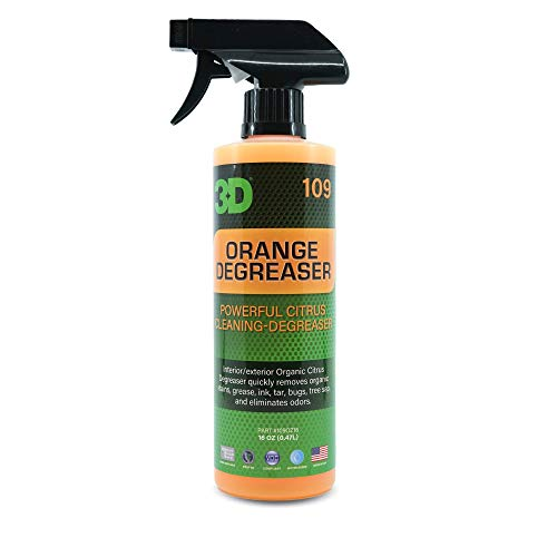 3D Orange Degreaser - Safe, Green & Organic Multi-Use Degreaser & Cleaner for Interior & Exterior Use to Remove Grease & Grime on Plastic, Cloth, Vinyl, Metal, Leather & Carpet 16oz.