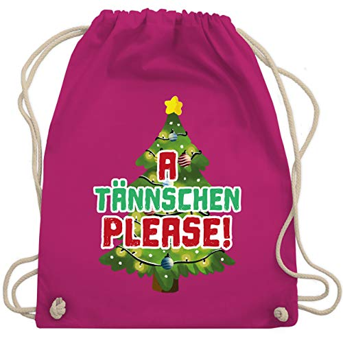 Weihnachten & Silvester - A Tännschen please! - Unisize - Fuchsia - Tanne - WM110 - Turnbeutel und Stoffbeutel aus Baumwolle