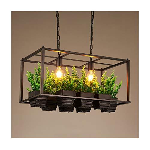 LJF Lampe . Lámpara colgante de planta artificial de hierro forjado decoración E27 creativa lámpara de techo bar restaurante cafetería tienda loft salón araña