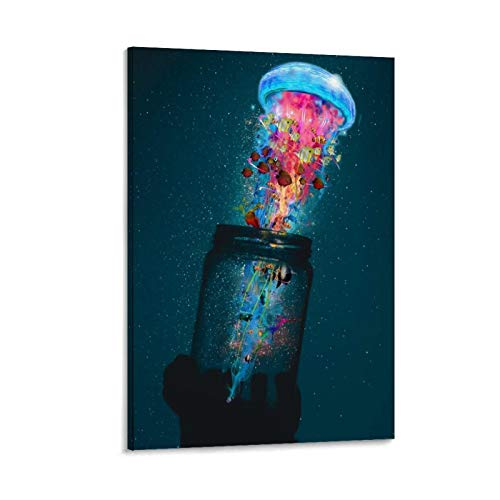 maojin Psychedelic Trippy Colorful Jellyfish A Jar Poster Decorative Painting Canvas Wall Art Living Room Posters Bedroom Painting 08x12inch(20x30cm)