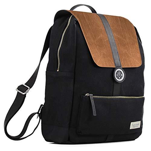 Rucksack Lissabon braun - schwarz, wasserabweisender Canvas/veganes Kunstleder/groß/Laptop Notebook 15 Zoll/DIN A4 Ordner/für Schule, Arbeit, Uni, Reisen